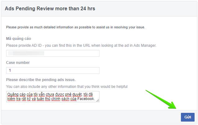 quảng cáo facebook không được phê duyệt